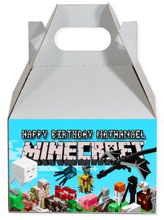 World of Pinatas - Minecraft Friends Personalized Gable Box (set of 6), $11.99 (http://www.worldofpinatas.com/minecraft-friends-personalized-gable-box-set-of-6/)