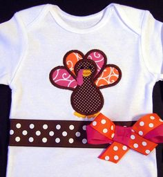 Thanksgiving Turkey Bodysuit Holiday Pink Orange by whimsytots, $32.50