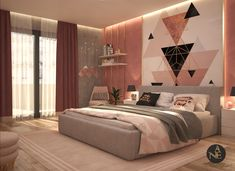 Pink Bedroom girly bedroom design to be more comfortable and cozy ,modern design palette is pink and grey with gradient of both material using gold material more appropriate to pink color and white plastic and wood the concept using more triangle lines … Pink Bedroom Decor, Room Design Bedroom, Girl Bedroom Designs, Room Ideas Bedroom, Home Room Design, Home Bedroom, Teen Bedroom Colors, Pink Bedrooms, Bedroom Vintage
