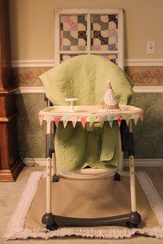 DIY shabby chic high chair birthday decorations