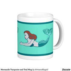 Mermaids Turquoise and Teal Mug; Abigail Davidson Art; ArtisanAbigail at Zazzle