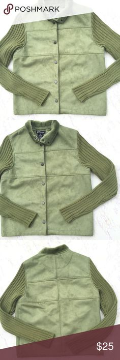 {Estudio} Khaki Green Button Up Jacket Pretty Vintage estudio Khaki green button up suede jacket vest with sweater long sleeves in great condition. Has faux fur lining. Size Small. Vintage Jackets & Coats