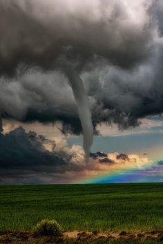 ^A Tornado in Front of a Rainbow Lamar - Colorado