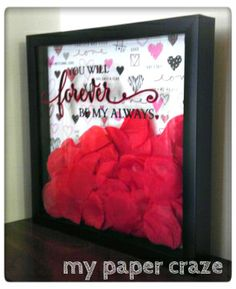 Valentine's Day Shadow Box Valentine Box, Valentine Day Crafts, Holiday Crafts, Valentines Frames, Valentine Ideas, Shadow Box Picture Frames, Flower Shadow Box, Diy Gifts, Handmade Gifts