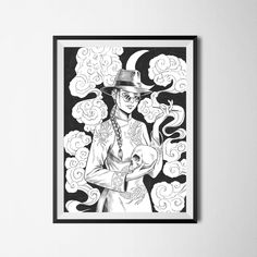 Paranormal Detective This mysterious lady will help you to solve the problems of the spiritual world. High-quality digital art print of original drawing. Printed on 312 g/m² matte fine art paper. Female Drawing, Cyberpunk Art, Paranormal, Dark Art, Detective, A4, Horror, Fantasy, Art Prints