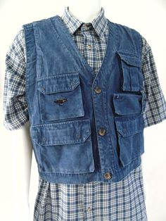 "Woolrich Sportsman WPL 6635 Fly Fishing Multi-Pocket Blue Denim Vest Sz M. Seam to seam: chest 23"" (pit to pit), garment length 23"". | eBay!"