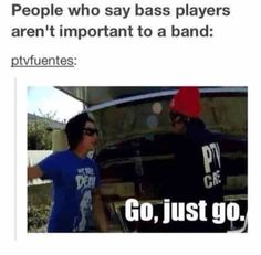 Jamie from PTV. Mikey from MCR. Pete from FOB. Calum from Ashley from BVB. Say that bass players don't matter and you will die. Music Is Life, My Music, Rock Music, 5sos, Just Go, Just In Case, Jaime Preciado, Mikey Way, Falling In Reverse
