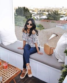 Transition your favorite skinnies for spring with a floral off-the-shoulder round shades and platform sandals ala @walkinwonderland | Shop her look with www.LIKEtoKNOW.it | www.liketk.it/2iuQ0 #liketkit by liketoknow.it