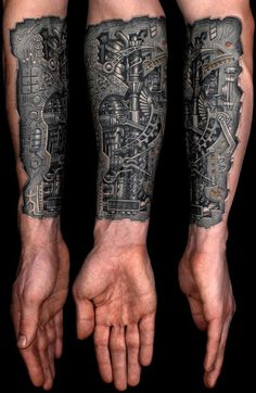Realistic mechanical tattoo on arms