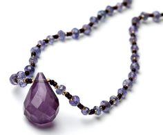 Purple Amethyst Teardrop Choker Necklace with Czech by katandbear, $48.00