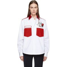 #SSENSE - #Acne Studios Acne Studios White and Red Spilled Cocktail Seattle Shirt - AdoreWe.com