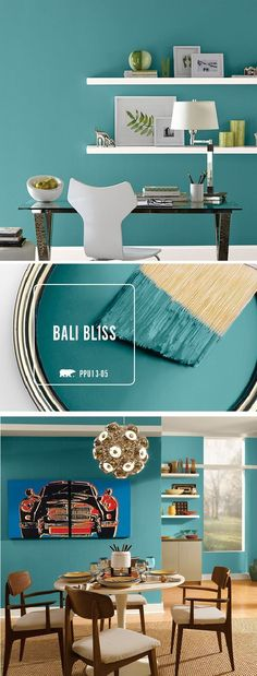 Combine ocean hues with modern decor and you get this relaxing blend of style and charm. Check out how you can use Bali Bliss to transform your every room of your home with this beautiful teal paint color. home accent Paint Color Inspiration Gallery Teal Paint Colors, Modern Paint Colors, Neutral Paint, Gray Paint, Wall Painting Colors, Playroom Paint Colors, Paint Trim, Painting Walls, Interior Paint Colors