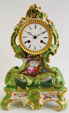 Antique clock –Early 19thc French Jacob Petite fine porcelain mantle clock &base