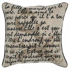 """Artfully crafted with a wood button closure, this jute and cotton pillow showcases script typography and neutral palette.  Product: PillowConstruction Material: Jute and cottonColor: NeutralFeatures:  Insert includedWood button closureDimensions: 18"""" x 18"""""""