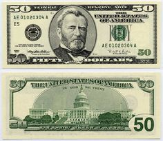 u.s. fifty dollar bill | 1996 $50 Federal Reserve Ladder Note S/N AE 01020304 A