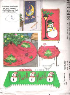 Christmas Holiday Craft Sewing Pattern Christmas Mail Holder Tablecloth Tree Skirt Wall Hanging Door Decoration Pattern McCall's 2405 by SuzisCornerBoutique on Etsy Vintage Christmas Party, Christmas Mail, Felt Christmas Ornaments, Christmas Holidays, Xmas, Christmas Stockings, Vintage Crafts, Vintage Sewing, Christmas Sewing Patterns