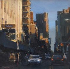 """Ben Aronson (American, born 1958) """"Crosstown on 54th"""", 2010  ~  oil on panel, 12 x 12 inches"""