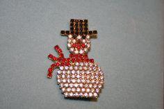 Snowman Holiday rhinestone Brooch Vintage Christmas by GENICE, $25.00