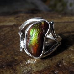 Sizable 9 1/2  Hand Cut Fire Agate Gemstone in Hand Crafted Sterling Silver Art Nouveau Larger Size Ring design by HawkandOwlJewelry on Etsy
