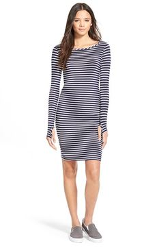 Socialite Stripe Long Sleeve Body-Con Dress available at #Nordstrom