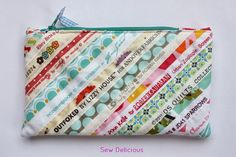 Sew Delicious: Selvedge Zip Pouch...great way to remember your favorite fabrics