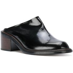 Robert Clergerie Sarai mules ($720) ❤ liked on Polyvore featuring shoes, robert clergerie shoes, mule shoes, leather shoes, black leather mules and leather footwear