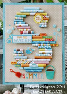 Summer Monogram Sign by #GlueArts Designer @Patti Milazzo made using GlueArts Adhesives and #Echo Park Paper's Splash collection!