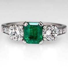 Vintage Emerald Tiffany & Co. Engagement Ring w/ Diamond Accents Platinum - EraGem