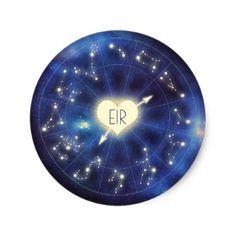 Constellation Zodiac Starry Night Wedding Classic Round Sticker - sticker stickers custom unique cool diy