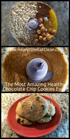 It's National Chocolate Chip Cookie Day! Celebrate with these Amazing Healthy Chocolate Chip Cookies! #heandsheeatclean #eatclean #cookies #dessert #treat #chocolatechip