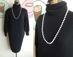 Vintage 70s Knit thick yarn warm Maxi Dress cowl neck L XL Plus Size Black SALE Free necklace