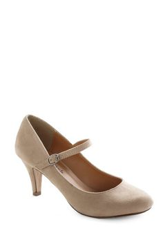 Talk of the Office Heel in Oatmeal from ModCloth- A charming simple 1920s style Mary Jane pump