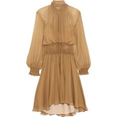 Chloé Smocked silk-crepon mini dress (€2.975) ❤ liked on Polyvore featuring dresses, light brown, mini dress, smocked dresses, ruffle collar dress, short dresses and brown dress