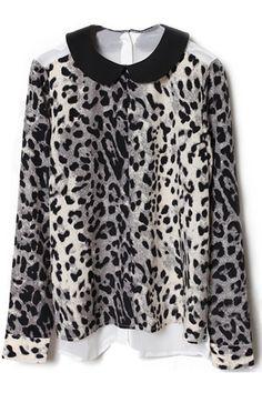 #Romwe Spliced Buttoned Back Apricot Leopard Blouse