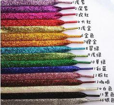 "Fashion 110cm /43"" Metallic Glitter Shoelaces Shoe Laces String f. Sneaker Sport Shoe 17 Colors Available Running Shoelace"