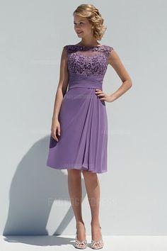 A-Line/Princess Bateau Knee-length Chiffon Mother of the Bride Dress