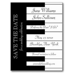 Piano Keyboard Music Themed Wedding Save The Date Postcards. For a wedding with a musical theme, where bride and groom share an interest in music. To be sent out Oct 3rd 2015