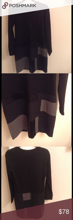 DKNY Patchwork Dress Absolutely beautiful!!  This long sleeve dress is a light sweater on the top in black and the fully lined bottom is greys and blacks.  It's 69% Wool/23% Polyester/5% Elastane/3% Acetate.  36 inches long . . In excellent condition!! DKNY Dresses Long Sleeve