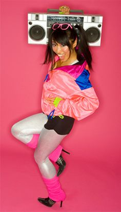 80's Gal DIY... Clothing: •Spandex shorts •Colored tank top Accessories: •Multi-colored windbreaker •Leg warmers •Bright sunglasses •Spandex tights •Boom box or portable CD player •Heels