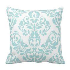 Light Blue Damask Throw Pillow