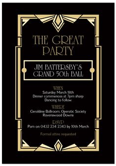 Page 2 For QueryFree Great Gatsby Invitations Templates | picturespider.com
