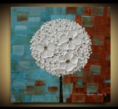 Original White Blossom Tree Acrilic Impasto  Palette Knife Abstract Painting. SIze 20 x20 x 1,4. on Etsy, $145.00