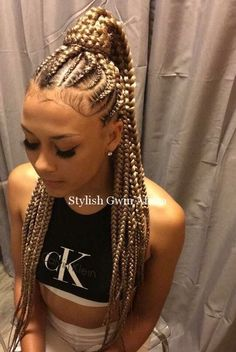53 best cornrows braids hairstyles for black women to try next Month - best hair for box braids - Hair Cornrows Braids For Black Women, Braided Hairstyles For Black Women, Braids For Black Hair, Girls Braids, White Girl Braids, Blonde Braids, Braids With Color, Braids With Weave, Ghana Braids Hairstyles
