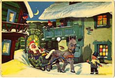 Musikk labler: FLEXI - POSTKORT Christmas Graphics, Santa Sleigh, Winter Wonder, Norway, Christmas Postcards, Painting, Painting Art, Paintings, Painted Canvas