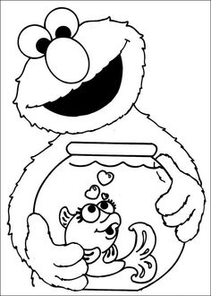elmo carrying a fish in jars coloring pages for kids printable elmo coloring pages for kids