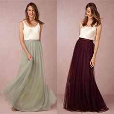 Two Piece Bridesmaid Dresses IvoryTop with Tulle Long Skirts Burgundy/Lavender/Sage/Royal Blue/Coral Bridesmaid Dresses