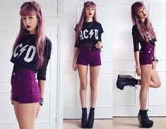 Thriftette Acid Acdc Tee, Casall Fishnet Top, Missguided Plum High Waisted Shorts, Jeffrey Campbell Spiked Damsels