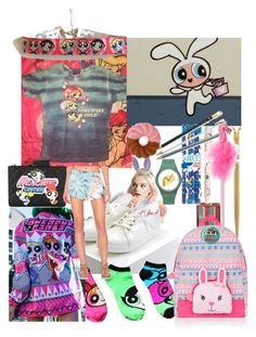 """""""School Cartoons"""" by lerp ❤ liked on Polyvore featuring Forever 21, THE POWERPUFF GIRLS, kikki.K, Accessorize, Paperchase, Moschino and Blue Life"""