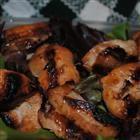 Simple wine marinade for chicken or pork.  1/2 c soy sauce, 1/4-1/2 c red wine, 3 Tblsp. white sugar, 1 tsp minced garlic, 1 tsp ground ginger,    1 tsp molasses