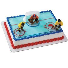 Hockey FaceOff DecoSet Cake Decoration: Score a hat trick with the Hockey Face-Off DecoSet birthday cake decoration. Set the scene for the game-winning shot with this DecoSet that includes a hockey net, two hockey players, and a goalie. Cake Decorating Kits, Decorating Tools, Hockey Party, Men's Hockey, Hockey Players, Hockey Birthday Cake, Sports Birthday Cakes, Hockey Cakes, Buckwheat Cake